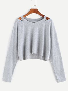 Grey Cut Out Neck Crop T-shirt