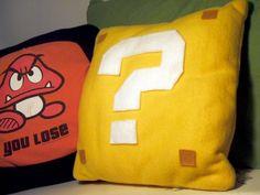 Super Mario Question Mark Block Pillow. $10.00, via Etsy.