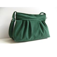 Pleated Bag in Emerald Green -Small- / Zipper Closure / Pine Tree... ($27) ❤ liked on Polyvore