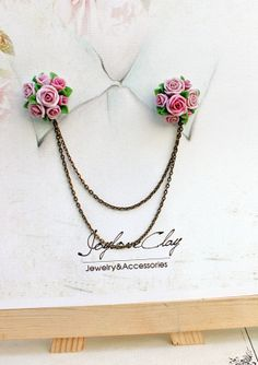 pink rose collar tips collar brooch handmade rose by Joyloveclay, $32.00