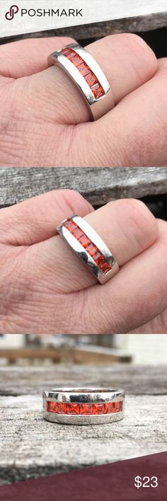 🆕List! Red Zirconia Stone Silver Band Ring! NEW! Red zirconia stones in silver flat band ring. Stamped 925. Size 8. New from package only worn to model. Boutique Jewelry Rings