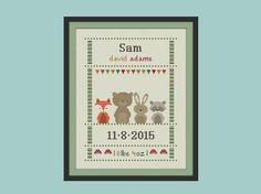cross stitch baby birth sampler, birth announcement, woodland animal, DIY…