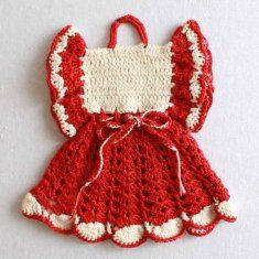 Premium Vintage Potholder Set 2 PB085  http://www.MaggiesCrochet.com       my grandmother made many of these little dresses in various patterns, she taught me to crochet when I was 5 yrs old       m