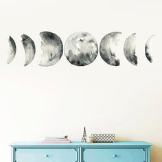Moon Phases Wall Decal Moon Phase Decor Celestial Wall Art   Etsy Kids Room Wall Stickers, Wall Decals, Wall Art, Tree Design On Wall, Moon Decor, Face Design, Tree Designs, Moon Phases, Textured Walls