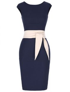 Oh So Bow-tiful 50s Retro Vintage Style Pencil Wiggle Dress