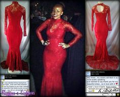 Matric Farewell Dress: Mermaid fit fully laced dress with choker neckline and an opening just below the neck. Siphe was voted best dressed at her school. From R1800. - See more at: http://www.passion4fashion.co.za/matric-dresses.html