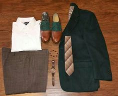 Going green, vintage, plaid, and Cole Haan. Men's Fashion