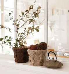 knitted cover for flower pots- braided pattern- Modèle cache pot tricot - Modèles Accessoires - Phildar