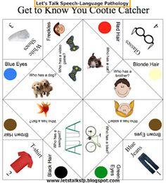 SLP Cootie Catcher! From: Let's Talk Speech-Language Pathology