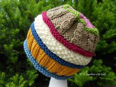 Mixed-up May hat pattern. Pattern for purchase. Would be cute in two colors or even one color too! Great idea for using up all of those little bits of leftover yarn from everyone's winter hat!
