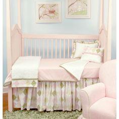Ivy League-Pink Bumperless Crib Bedding