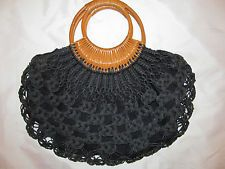 vintage 60's crochet woven twine with wooden handles half circle TIKI pin up bag