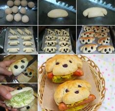 Cute and Yummy dog sandwiches. I'm assuming that no actual dogs were harmed in the making of these sandwiches. Cute and Yummy dog sandwiches I would make from bread dough Cute and Yummy dog sandwiches.Plain bread rolls shaped as shown with raisins for eye Cute Food, Good Food, Yummy Food, Tasty, Hot Dog Buns, Hot Dogs, Hotdog Sandwich, Sandwich Ideas, Hotdog Dog