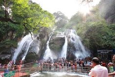Kutralam Five Falls, Tamil Nadu, India... Went here this summer and you can actually go up to the falls and  stand right in the falls it hurts a little and it's hard to breathe but then you get used tho it