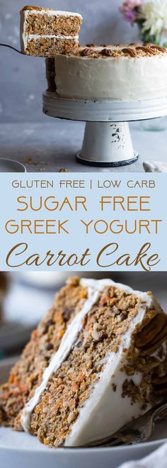 Low Carb Sugar Free Carrot Cake - this healthy, sugar free carrot cake is SO moist and tender, you'll never know it's gluten, oil and butter free, made with Greek yogurt, only 170 calories and 5 WW Freestyle points! | #Foodfaithfitness | #Lowcarb #sugarfree #glutenfree #carrotcake