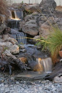 Beautiful waterfall by Chris' Water Gardens in Homer, IL