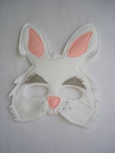 Children's White RABBIT Felt Mask. $12.50, via Etsy.