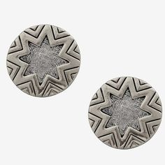Sunburst Stud Earring in Etched Silver