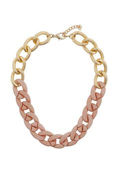 Textured Half Pink Chain #topshop #necklace #jewellery #pink #gold #cute #pretty #love #need #fashion #pin
