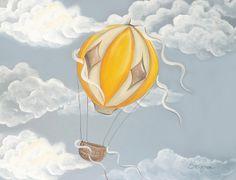 Yellow Hot air balloon Nursery Art