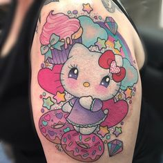 Girly Tattoos, Badass Tattoos, Body Art Tattoos, Kawaii Tattoos, Tatoos, Hello Kitty Tattoos, Hello Kitty Nails, Alex Strangler, Left Arm Tattoos
