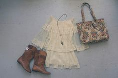 OUTFIT! A redesigned vintage lace dress by Community Service, vintage boots and a tapestry bag, with a handmade necklace by Erika James.