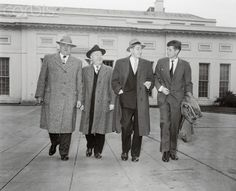 Four Democratic Congressmen from Massachusetts leave the White House here today after an appointment with President Truman. Left to right: Reps. John F. Kennedy (Boston); Foster Furcolo (Longmeadow); Philip J. (clinton); and Harold D. Donahue (Worcester). Date Photographed:12 April 1949