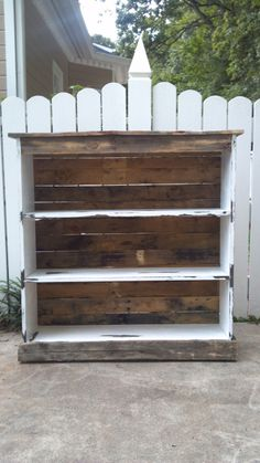 Bookcase made from pallets. $ 150, by Jessica Ashlock via Etsy  --  Can be made from total pallet wood or pallet wood + pine boards. Measures 44 inches wide x 45 inches tall x 12 inch depth; distressed paint finish & sealed w/ a clear satin poly.