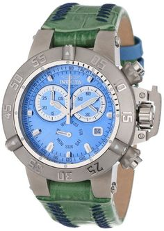 Invicta Women's 11621 Subaqua Chronograph Blue Dial Green Leather Watch