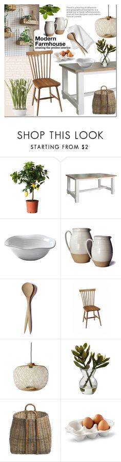 """""""Modern Farmhouse"""" by cruzeirodotejo ❤ liked on Polyvore featuring interior, interiors, interior design, home, home decor, interior decorating, Bloomingville, Nearly Natural, NKUKU and Juliska"""