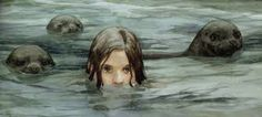 Selkie girl with seals