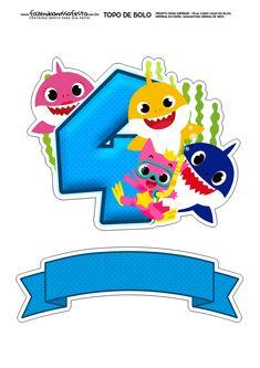 Topo de bolo Baby Shark numero 4 Shark Birthday Cakes, Baby Birthday, Shark Pictures, Underwater Theme, 5th Birthday Party Ideas, Baby Kit, Shark Party, Baby Shark, Baybayin