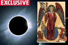 Total solar eclipse, left, and the mythical woman of the apocalypse, right ~ A TOTAL solar eclipse will plunge Britain and America into darkness - and bring on the end of the world next year. Or so it's claimed by one group of hardcore Christians, who believe they will soon be raptured into heaven.  And in their bid to prove it, they've rallied a series of bizarre calculations to their cause.