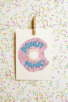 Donut Panic Print A4 Print Typography Print Pun by AlexisWinter