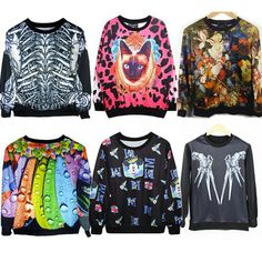 2015 Autumn Winter Women Men 3D Hoodies Pullover Sweatshirts Sudaderas Harajuku Galaxy Top Cat Flowers Micky Mouse Skull Go Away
