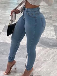 Material:Denim;Style:Casual;Pattern Type:Solid;Element:Basic;Fit Type:Skinny;Waist Type:Mid;Closure Type:Zipper Fly;Elastic:Yes(Elastic);Type:Solid Color;Waist(cm):L:75cm XL:78cm XXL:82cm XXXL:86cm XXXXL:90cm XXXXXL:94cm XXXXXXL:98cm ;Hip(cm):L:84cm XL:86cm XXL:90cm XXXL:98cm XXXXL:106cm XXXXXL:114cm XXXXXXL:122cm ;Pants Length(cm):L:94cm XL:95cm XXL:97cm XXXL:99cm XXXXL:101cm XXXXXL:102cm XXXXXXL:103cm ;Weight:675g Green Fashion, Denim Fashion, Look Fashion, Fashion Shorts, Gothic Fashion, Trendy Jeans, Sexy Jeans, Women's Jeans, Skinny Fit