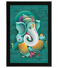 Delight Wooden Blessing Ganesha Digital Printed Uv Photo Frame Lord Ganesha Paintings, Ganesha Art, Vinyl Poster, Vinyl Art, Indian Gods, Indian Art, Canvas Wall Decor, Wall Art, Ganesh Lord