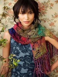 Noro Crochet Strawberry Lace scarf. Another reason for me to learn to crochet! Love this!