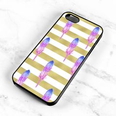 Watercolor Feather Pattern Striped Gold Hard by MintPrintCases
