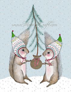 """Christmas squirrel holiday art print, """"Merry Little Squirrels"""""""