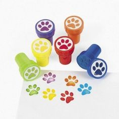 Paw Print Self Inked Stamps x 6: Amazon.co.uk: Toys & Games