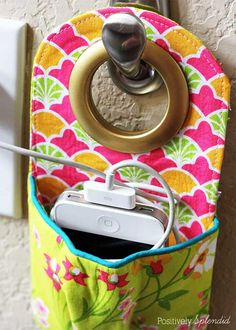 Fabric Phone Charging Station - Free Sewing Tutorial by Positively Splendid