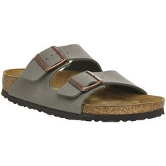 Birkenstock Arizona Two Strap ($85) ❤ liked on Polyvore featuring shoes, sandals, stone, women, birkenstock sandals, birkenstock, strappy shoes, strap shoes and strappy sandals