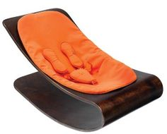Bloom Coco Stylewood Baby Lounger with Seat Pad, Cappuccino Frame, Harvest Orange (Leatherette)