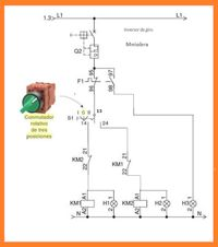 Esquemas eléctricos: maniobra inversor de giro con conmutador rotativo Electrical Symbols, Electrical Wiring, Electrical Engineering, Electrical Circuit Diagram, Drip System, Electric Circuit, Electrical Installation, Electronic Devices, Arduino
