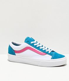 Add some standout color to your shoe collection with the Style 36 Retro Sport Caribbean Sea and true white skate shoes from Vans! This update to the classic Vans silhouette features a deep turquoise color at the tongue, toe cap and heel counter, contraste Yellow Vans, Pink Vans, Red Vans, Vans Slip Ons Outfit, Vans Outfit, White High Top Vans, White Vans, Vans Skate Shoes, Vans Sneakers