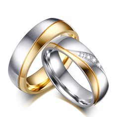 Meaeguet Romantic Wedding Rings For Lover Gold-Color Stainless Steel Couple Rings For Engagement Party Jewelry Wedding Bands – Lady Shop – Store for the woman Ring Set, Ring Verlobung, Womens Wedding Bands, Wedding Men, Gift Wedding, Wedding Gold, 2017 Wedding, Table Wedding, Party Wedding