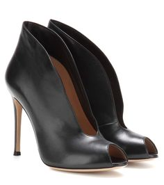 mytheresa.com - Vamp Leather Peep-Toe Ankle Boots - Gianvito Rossi ♦ mytheresa - Luxury Fashion for Women / Designer clothing, shoes, bags