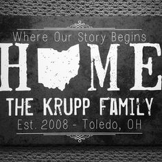 OMG I love love love this! You can make it with any state and you can personalize it with all your family's info! I love this dark gray but this canvas also comes in other colors, too .... this site has EVERYTHING you have to check it out! #State #Map #HomeDecor #PMallGifts