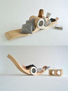 『EXOCET CHAIR』は、用途に応じて姿を変える賢い家具です。 中央部の大きなシリンダーを軸に回転するこちら。ポジショニングによって様々なタイプの椅子に変身するのがユニークですね。  椅子を複数持てないひとり暮らしの方などに良いかも?(via CONTEMPORIST)